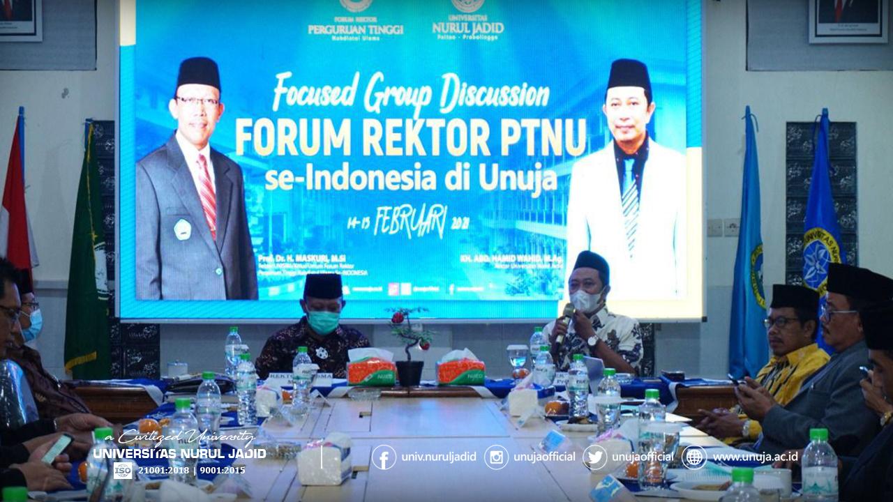Rektor UNUJA, K.H. Abd. Hamid Wahid, M.Ag., memberi pemaparan tentang visi dan misi FR-PTNU