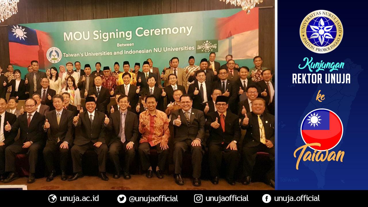 Seremoni penandatanganan MoU antara 30 Perguruan Tinggi NU dan Pesantren dengan 45 Perguruan Tinggi Taiwan