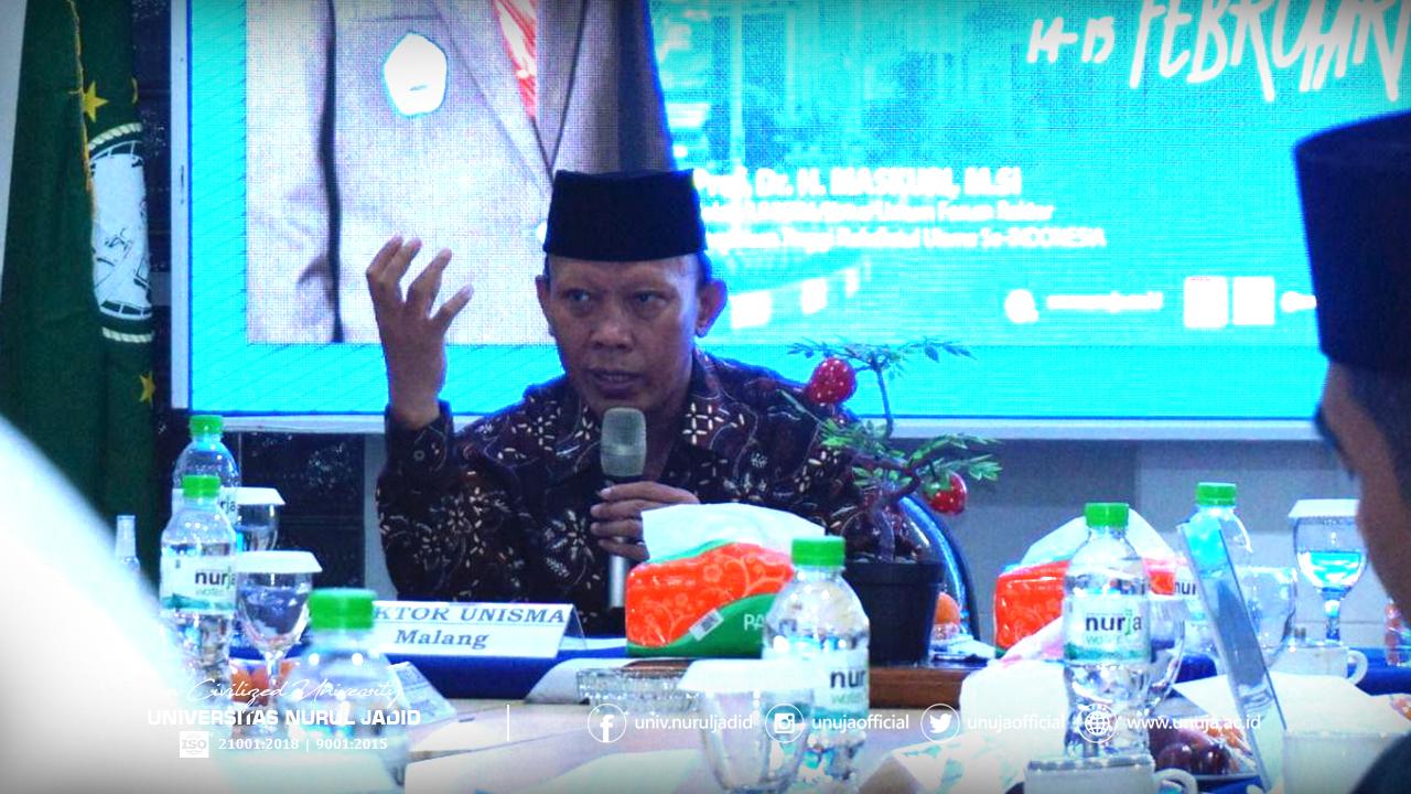 Ketua FR-PTNU, Prof. Dr. Maskuri, M.Si., memberi arahan tentang arah gerak FR-PTNU.